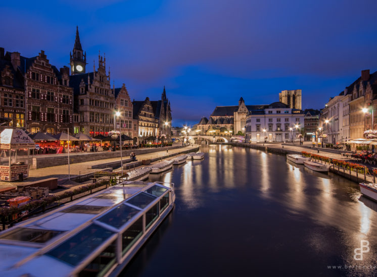 Gent, Ghent, Ghand, Belgium, België, Belqique, Graslei, Leie, Water, Cityscape, Stad, Unesco, Nacht, Blue Hour, Night, Avond, City, Cityscape, Long Exposure